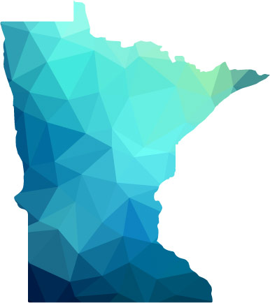 Shape of Minnesota colored in with an abstract pattern of blues and greens